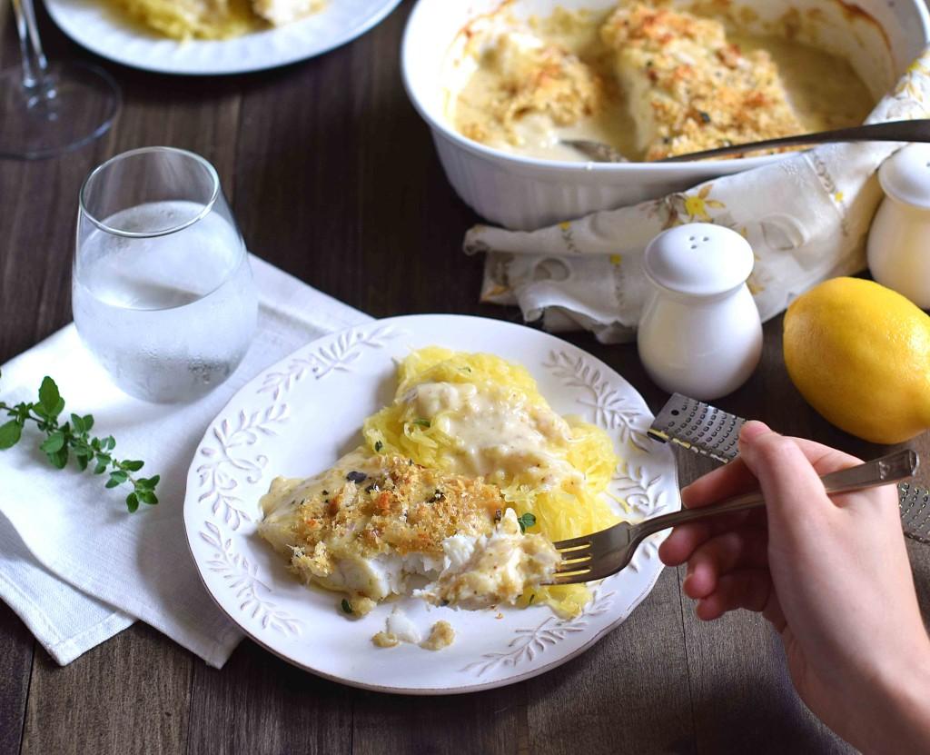 eating cod au gratin