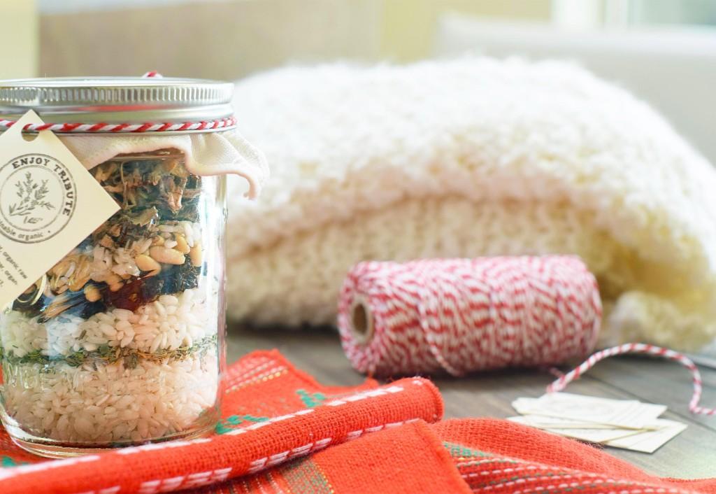 mushroom risotto in a mason jar