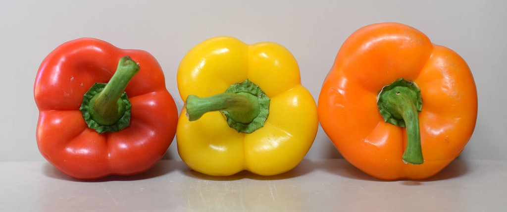 Tri Colored Bell Peppers for Hungarian Lecso