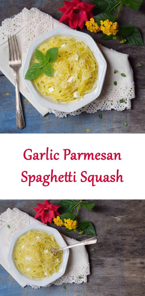 Garlic Parmesan Spaghetti Squash - a lovely side dish on it's own or a way to replace your pasta recipes. So easy and healthy!