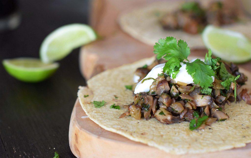 mushroom cilantro tacos
